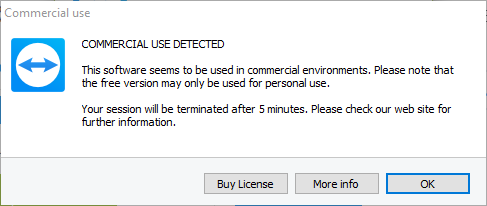 TeamViewer Commercial License Detected